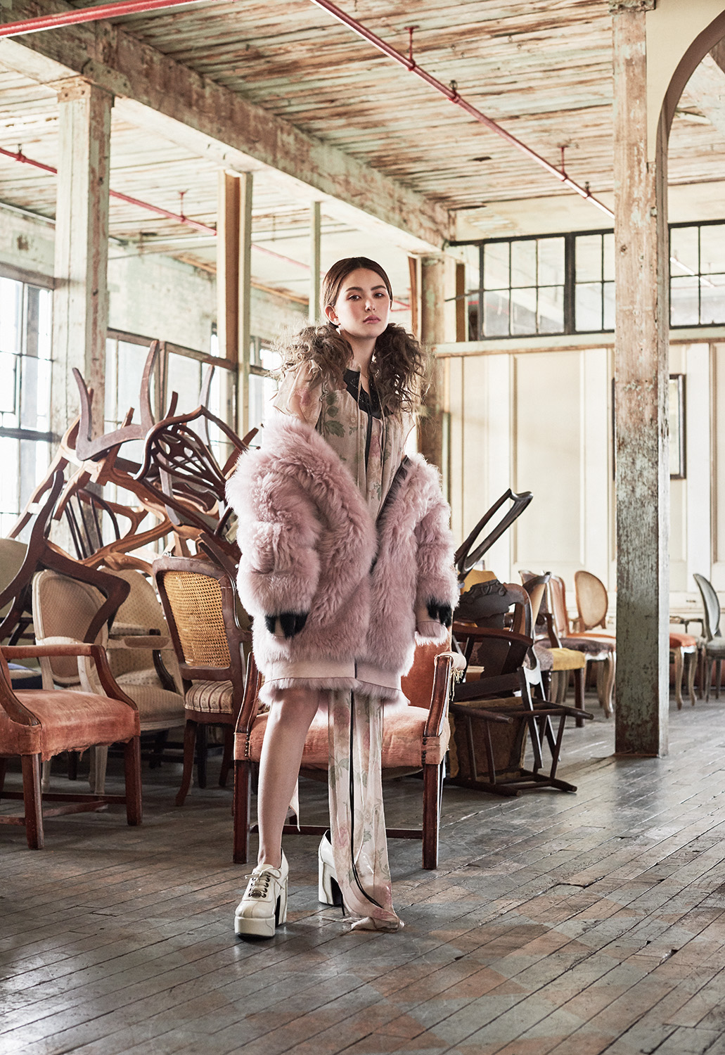 Hannah Quinlivan Poses In Faux Fur Abundance For By Ungaro + Agriodimas