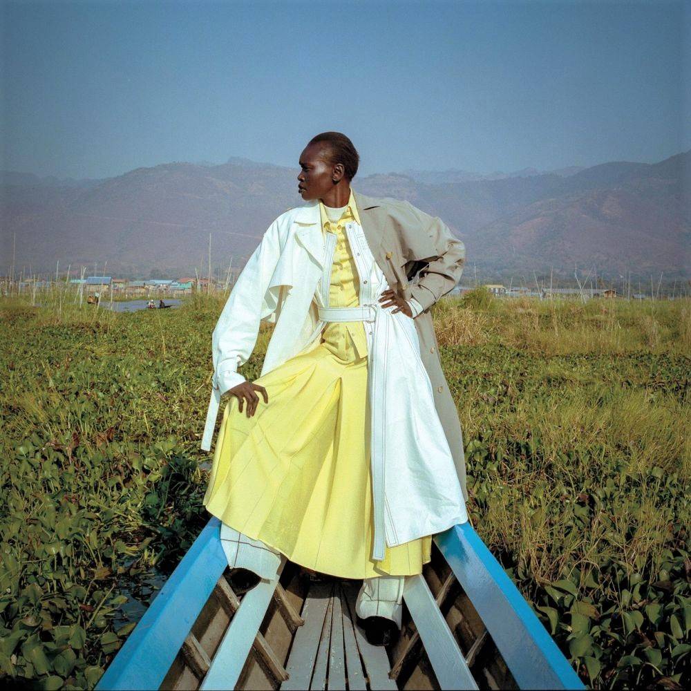 Alek Wek Mixes Givenchy Coat and Dress Over Missoni Top and Pants, Lensed by Michal Chelbin.
