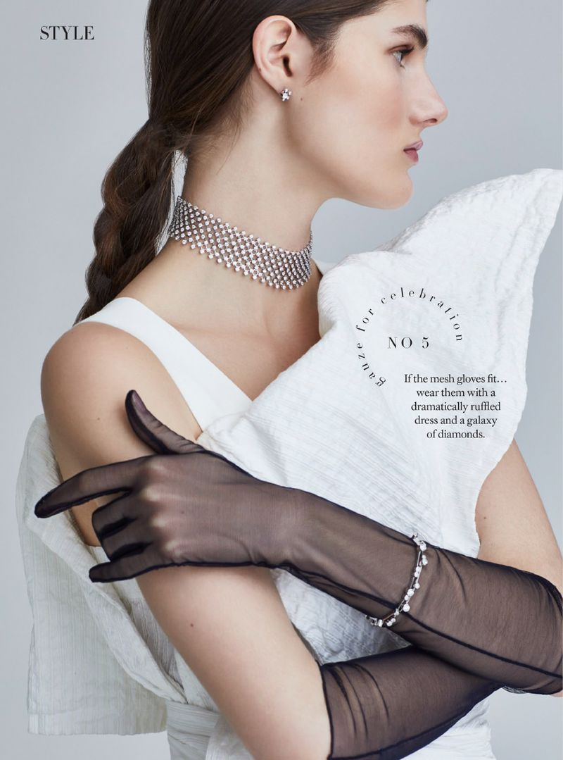 Black Sheer Gloves Give Ladylike A New Twist. Lucia Lopez Is Lensed By Lara Jade.
