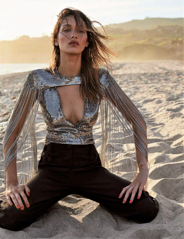 Bella Hadid Smolders in Metallic Top and Mica Sand, Lensed By Zoey Grossman