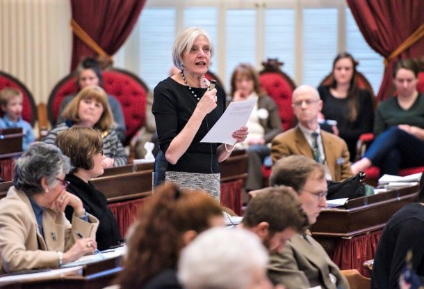 Rep. Ann Pugh, D-South Burlington, explains an abortion rights bill at the Statehouse in Montpelier on Wednesday, Feb. 20, 2019.  Photo by Glenn Russell /VTDigger
