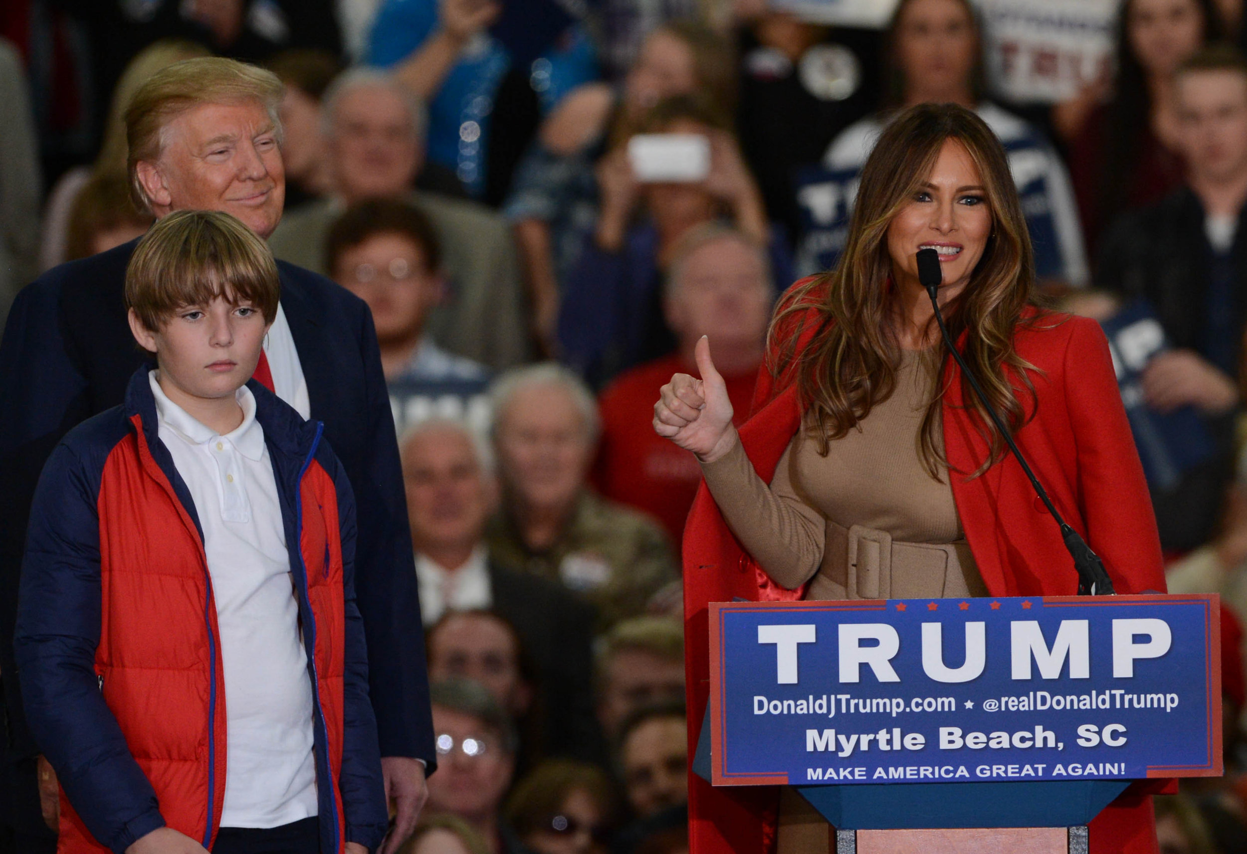 Donald, Melania and Barron Trump 2015 campaign stop in the 2016 presidential election.