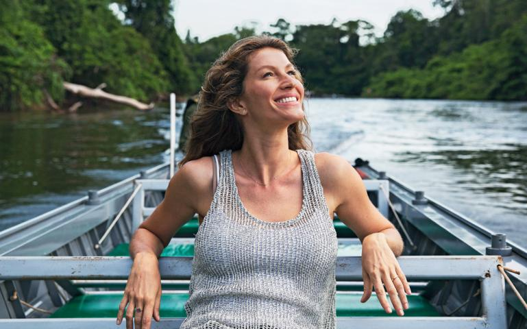 Gisele in the Amazon, talking climate change for National Geographic