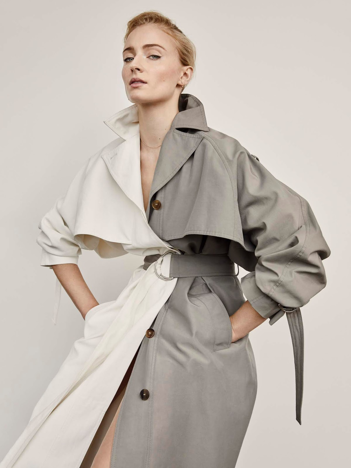 Sophie Turner wears Givenchy color-blocked trench lensed by Yelena Yemchuk.