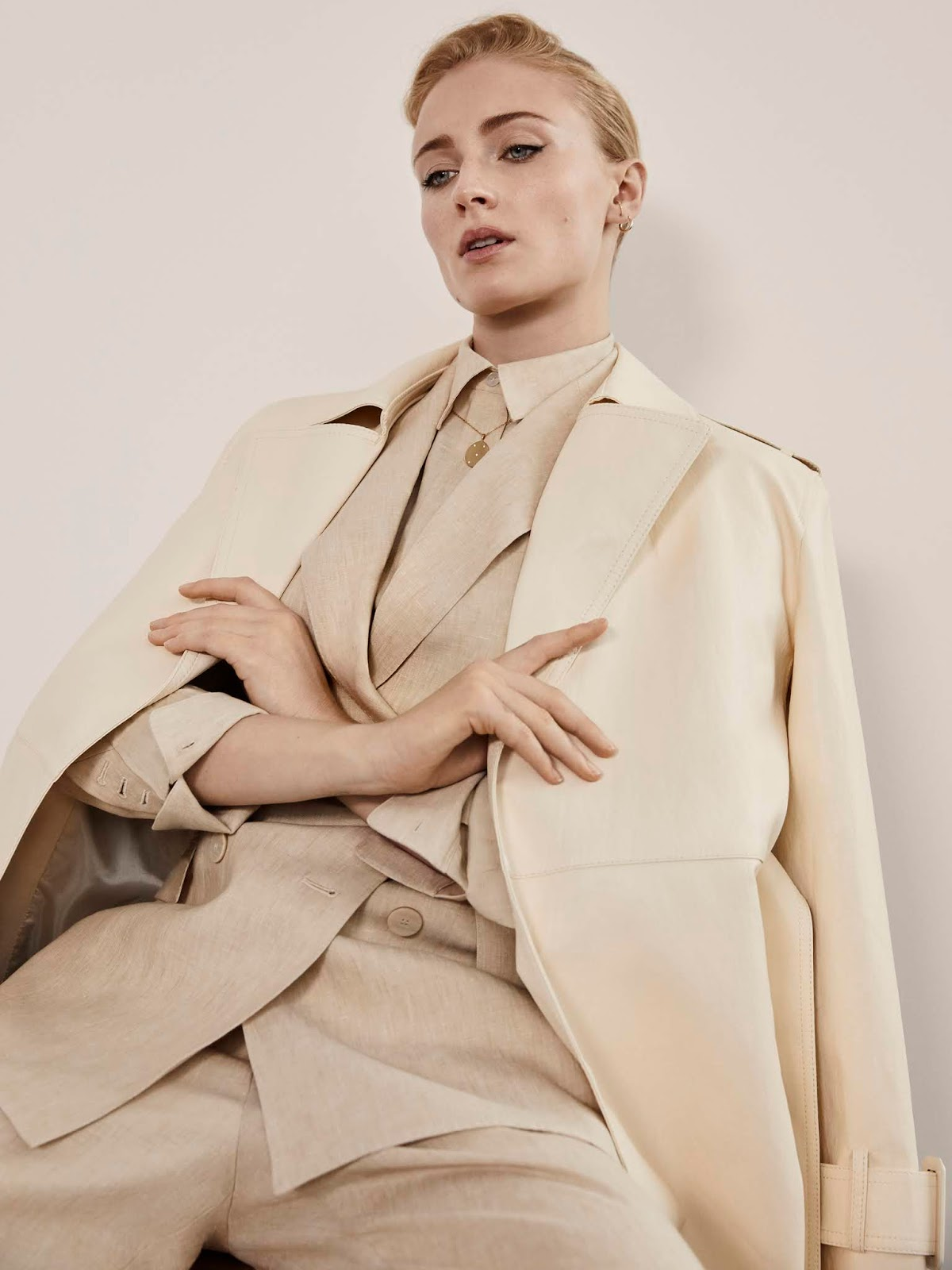 SOPHIE WEARS THEORY BLAZER, SHIRT AND PANTS WITH FRANKIE SHOP COAT LENSED BY YELENA YEMCHUK.
