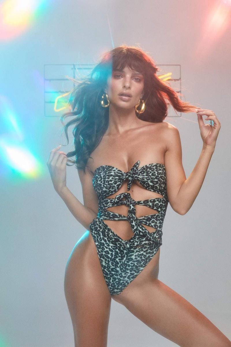 Emily Ratajkowski Is On the Prowl In Her Disco Leopard Print Inamorata Swim 2019 Collection