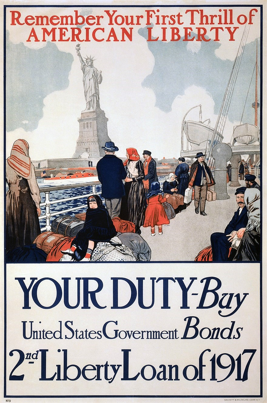 A  Liberty bond  (or  liberty loan ) was a  war bond  that was sold in the United States to support the allied cause in  World War I . Subscribing to the bonds became a symbol of patriotic duty in the United States and introduced the idea of financial securities to many citizens for the first time. The Act of Congress which authorized the Liberty Bonds is still used today as the authority under which all U.S. Treasury bonds are issued.  via Wiki Reader