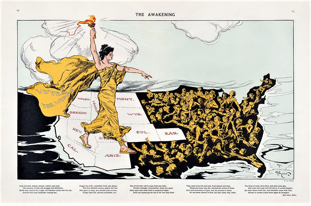 This map appeared in the magazine  Puck  during the Empire State Campaign, a hard-fought referendum on a suffrage amendment to the New York State constitution—the referendum failed in 1915.