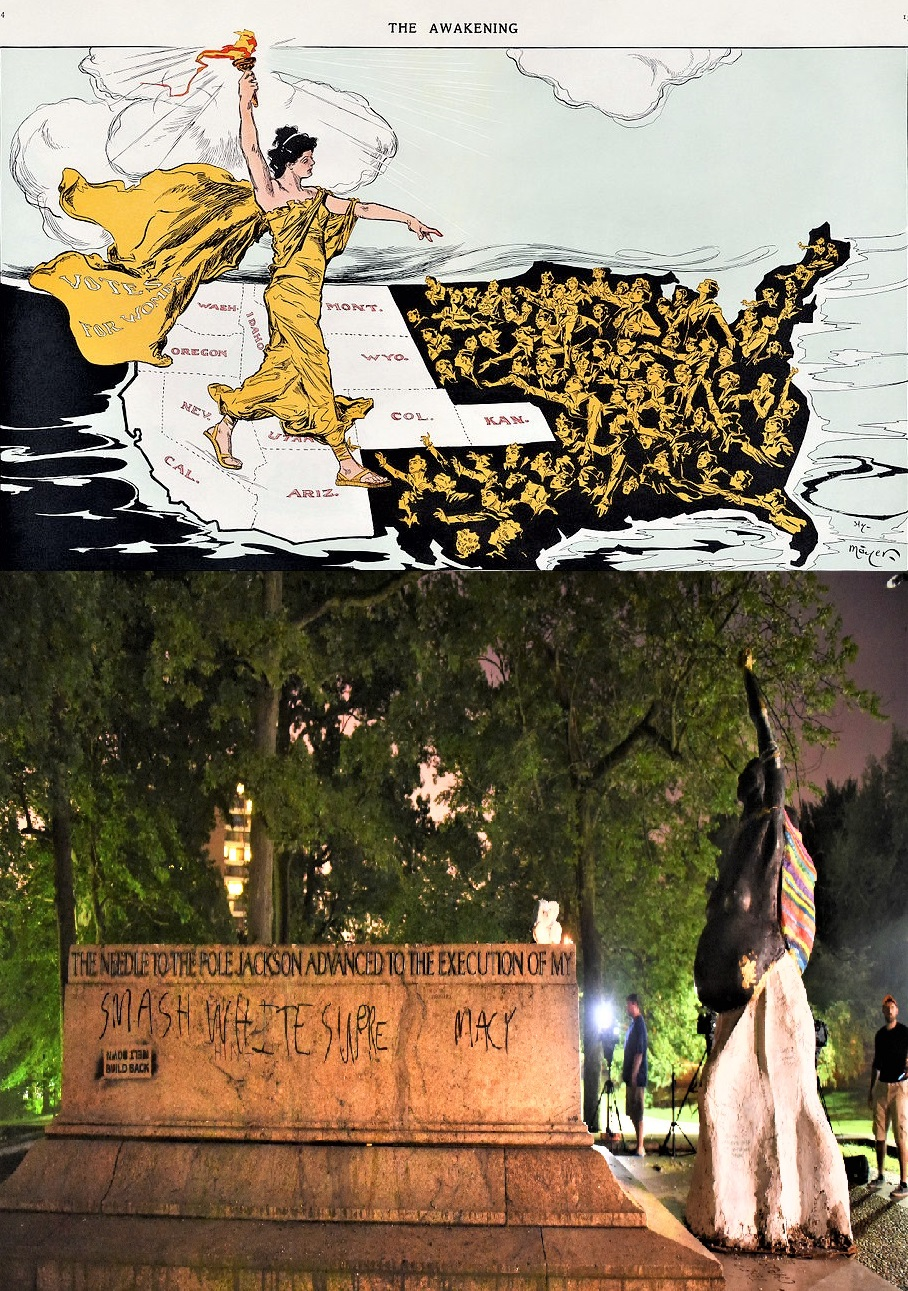 Top image: THIS MAP APPEARED IN THE MAGAZINE  PUCK  DURING THE EMPIRE STATE CAMPAIGN, A HARD-FOUGHT REFERENDUM ON A SUFFRAGE AMENDMENT TO THE NEW YORK STATE CONSTITUTION—THE REFERENDUM FAILED IN 1915. Lower image: 'Madre Luz' by Pablo Machioli, installed in Baltimore at the site of a Confederate monument removed after Charlottesville. It was destroyed.  via