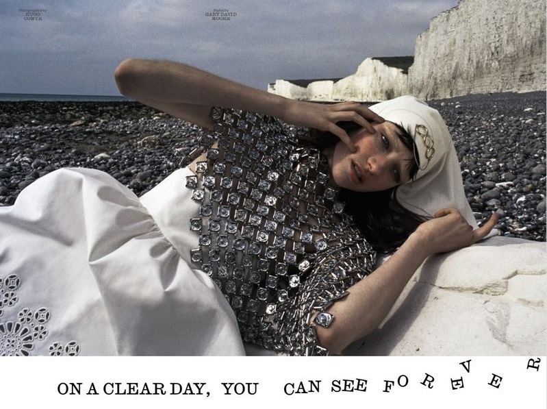Dress by Miu Miu. Shawl by Stefan Cooke. Headscarf by JW Anderson.