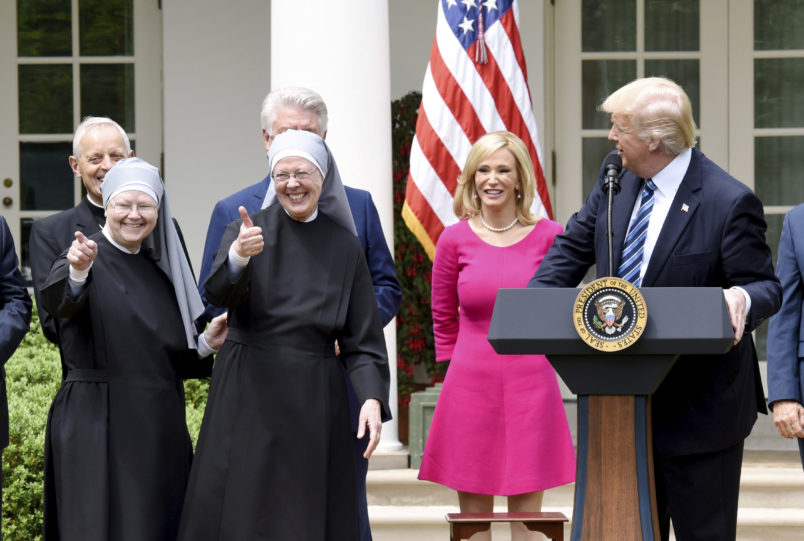 At Religious Freedom Order Signing, Little Sisters Of The Poor Join Trump.  Via TPM