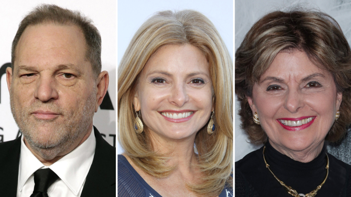 HARVEY WEINSTEIN (L), LISA BLOOM (M), BLOOM'S MOTHER, LAWYER AND PROMINENT ACTIVIST REPRESENTING ACCUSERS IN SEXUAL HARASSMENT CASES GLORIA ALLRED.
