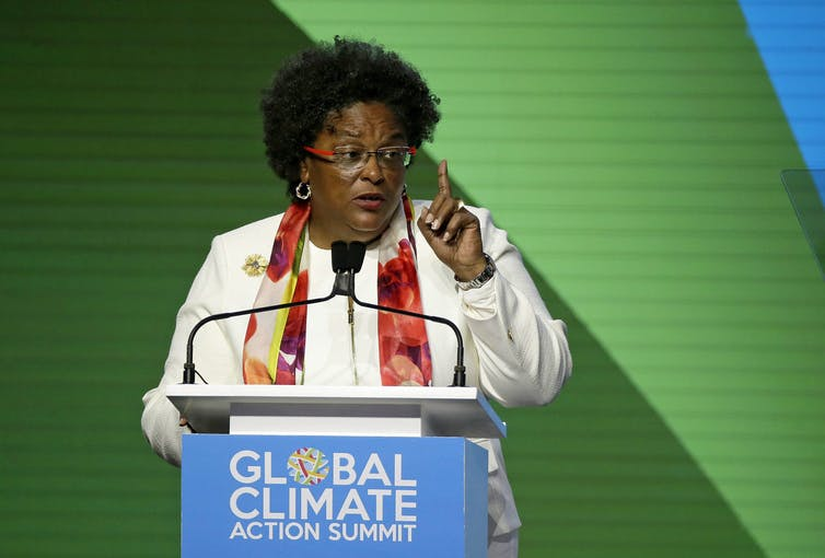 Barbados Prime Minister Mia Mottley speaks during the opening plenary of the Global Action Climate Summit on Sept. 13, 2018, in San Francisco. (AP Photo/Eric Risberg)
