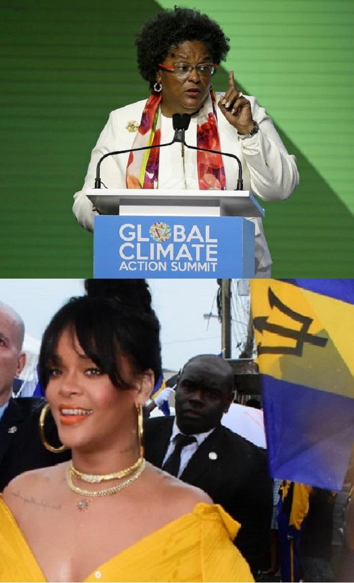 Top: Barbados Prime Minister Mia Mottley. Bottom: Rihanna