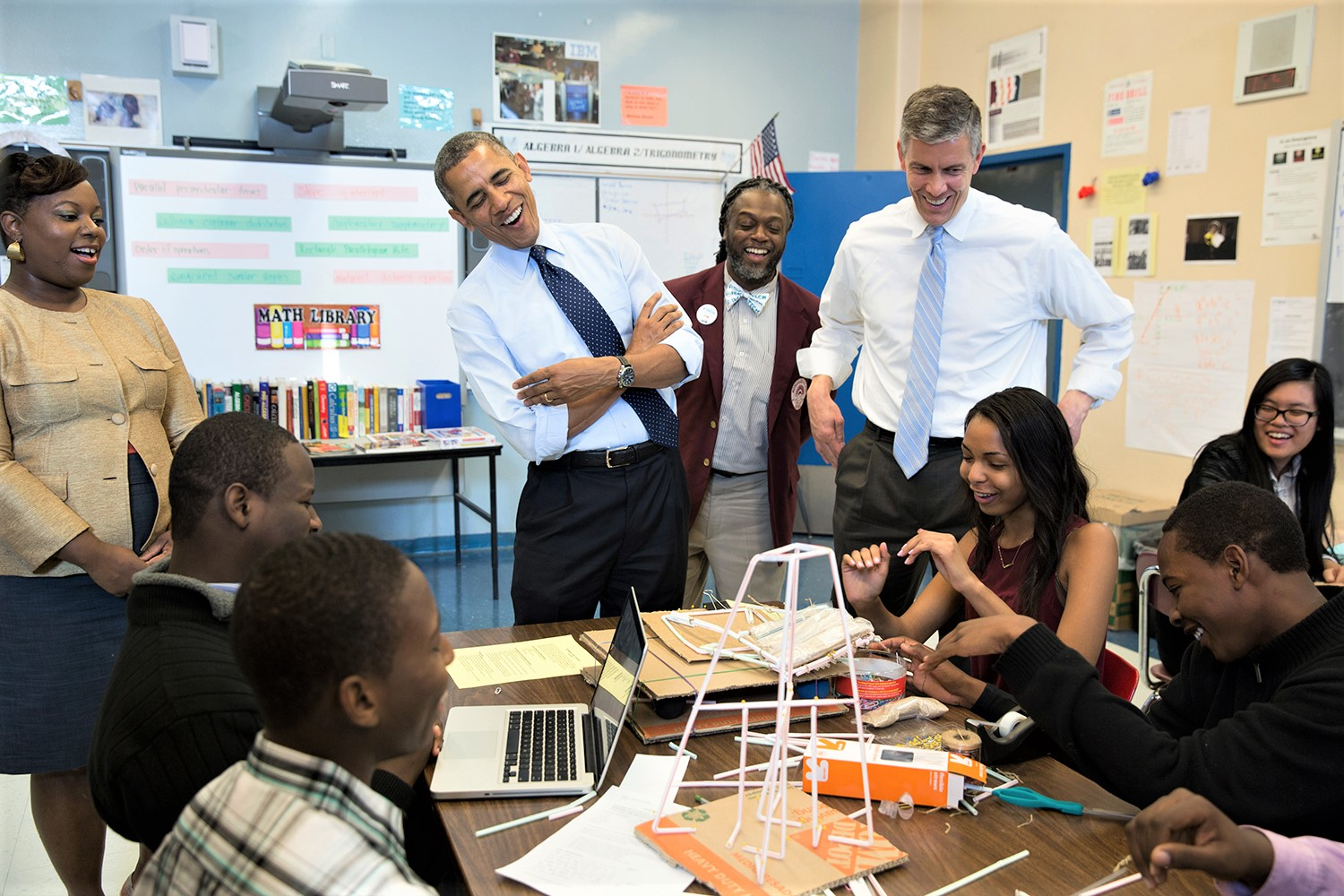 President Barack Obama and Education Secretary Arne Duncan visit a classroom at the Pathways in Technology Early College High School (P-TECH) in Brooklyn, N.Y., Oct. 25, 2013. (Official White House Photo by Pete Souza)
