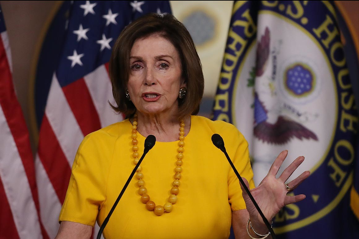 House Speaker Nancy Pelosi and other top Democrats stressed the importance of passing their emergency funding package before lawmakers leave town for the weeklong recess. | Mark Wilson/Getty Images  via   Politico