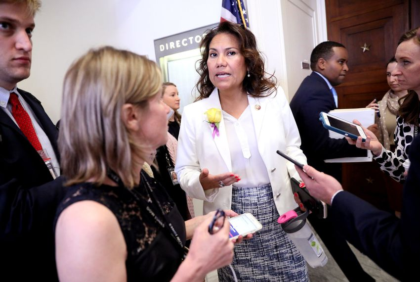 """""""There is an urgency, at least on my part, to get it out the door as quickly as possible,"""" U.S. Rep. Veronica Escobar, D-El Paso, says of the border aid bill.Image REUTERS/Jonathan Ernst."""