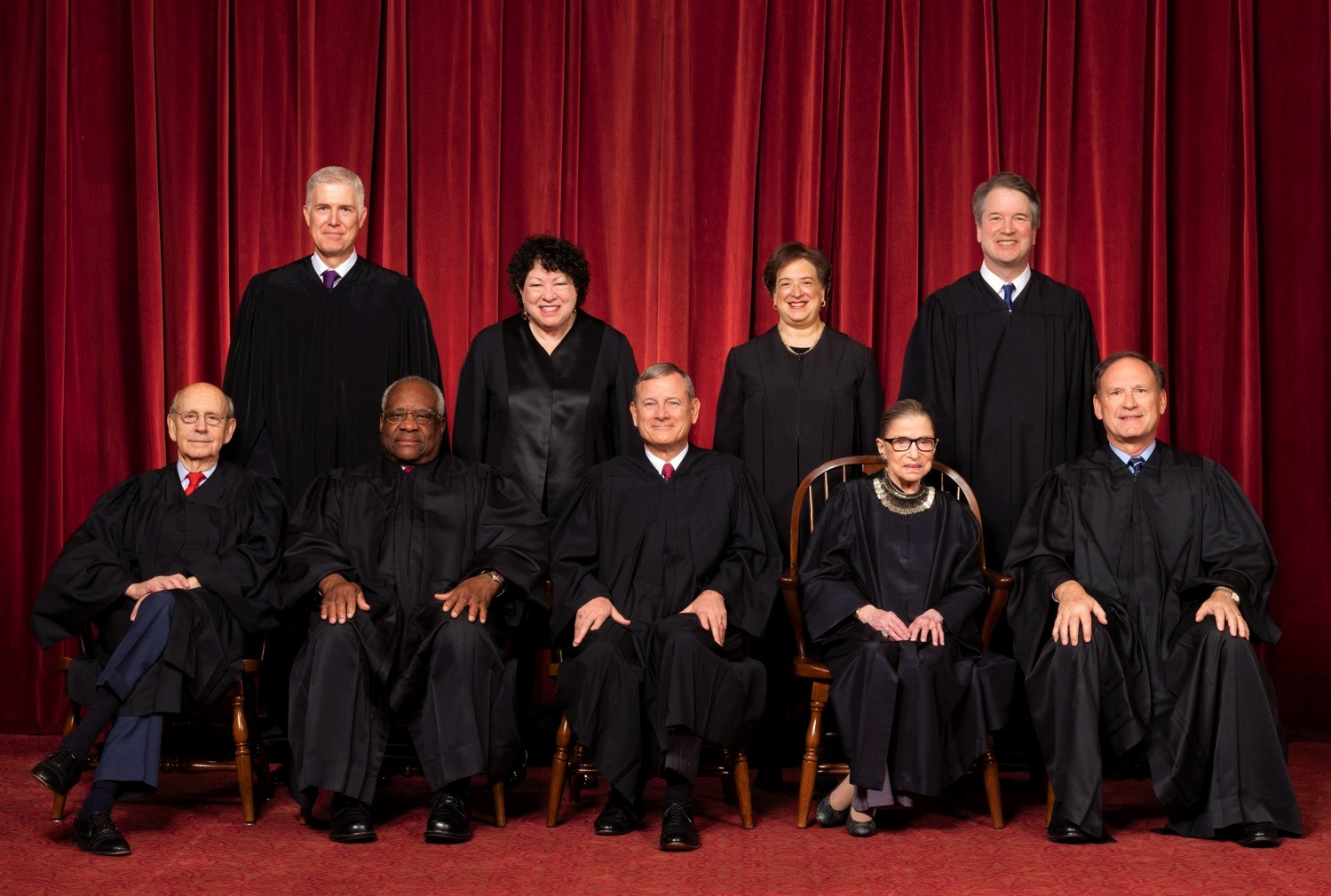 US Supreme Court Justices June 2019 gerrymandering decision:  Front row, left to right: Associate Justice Stephen G. Breyer, Associate Justice Clarence Thomas, Chief Justice John G. Roberts, Jr., Associate Justice Ruth Bader Ginsburg, Associate Justice Samuel A. Alito. Back row: Associate Justice Neil M. Gorsuch, Associate Justice Sonia Sotomayor, Associate Justice Elena Kagan, Associate Justice Brett M. Kavanaugh.. Credit: Fred Schilling, Collection of the Supreme Court of the United States