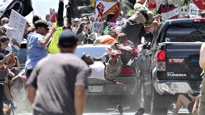 James Fields, Jr. drives his Dodge Challenger into the Charlottesville crowd as it was disbanding, killing Heather Hyer and injuring many who protested against the white nationalists rally.