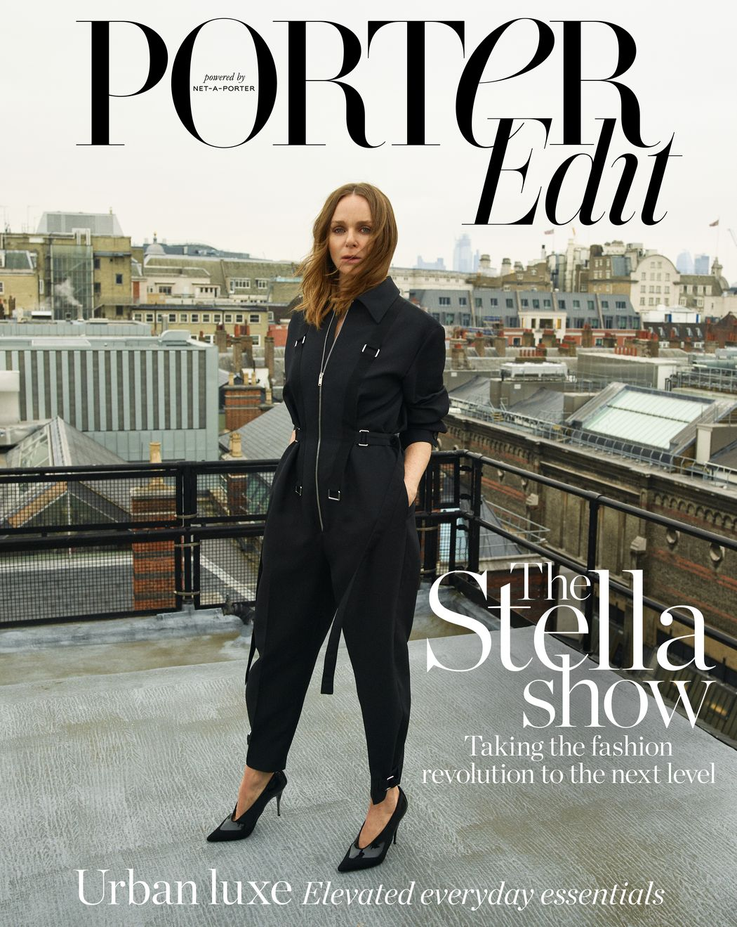 Stella MCCartney wears a jumpsuit from her own collection. Image by Matthew Sprout for cover of Porter Edit, June 21, 2019.