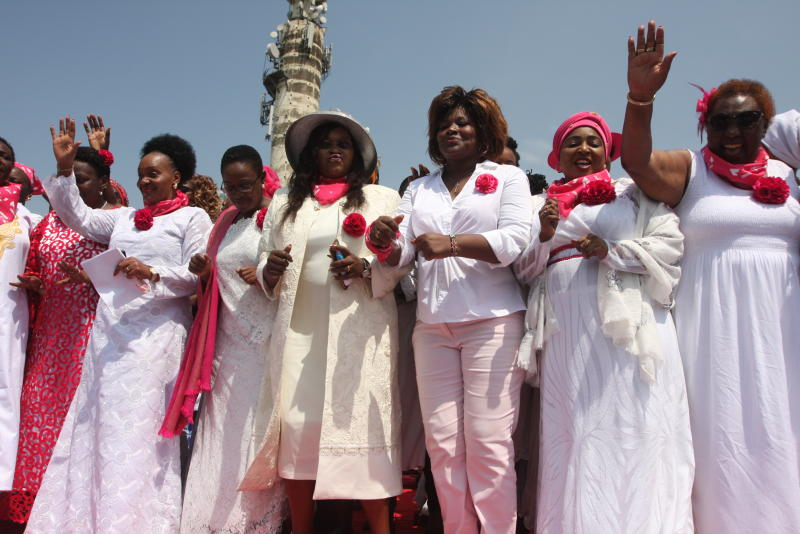 A section of Embrace Kenya women in a dance when they toured Kisumu.  (Collins Oduor, Standard )