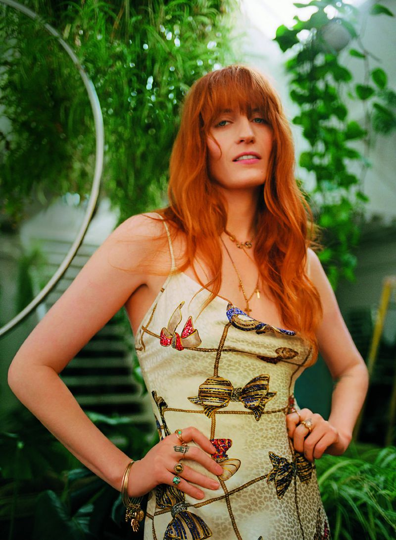 Alessandra Rich dress, £1,175 (020 7499 7760). Annina Vogel horseshoe trio necklace, from £3,850; vintage braided charm necklace, from £695, at libertylondon.com. Image: Florence Welch by Bella Newman