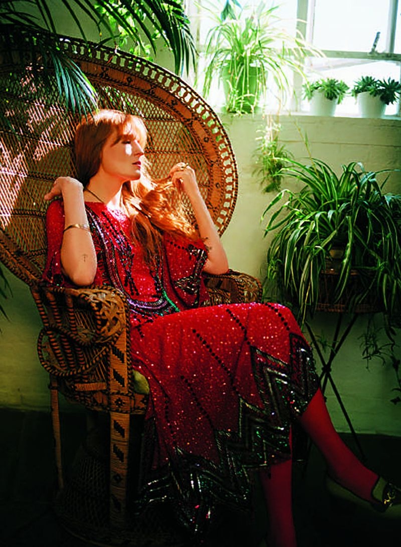 Gucci gown, £10,700; shoes, £615 (gucci.com). Falke tights, £18 (falke.com). Image: Florence Welch by Bella Newman