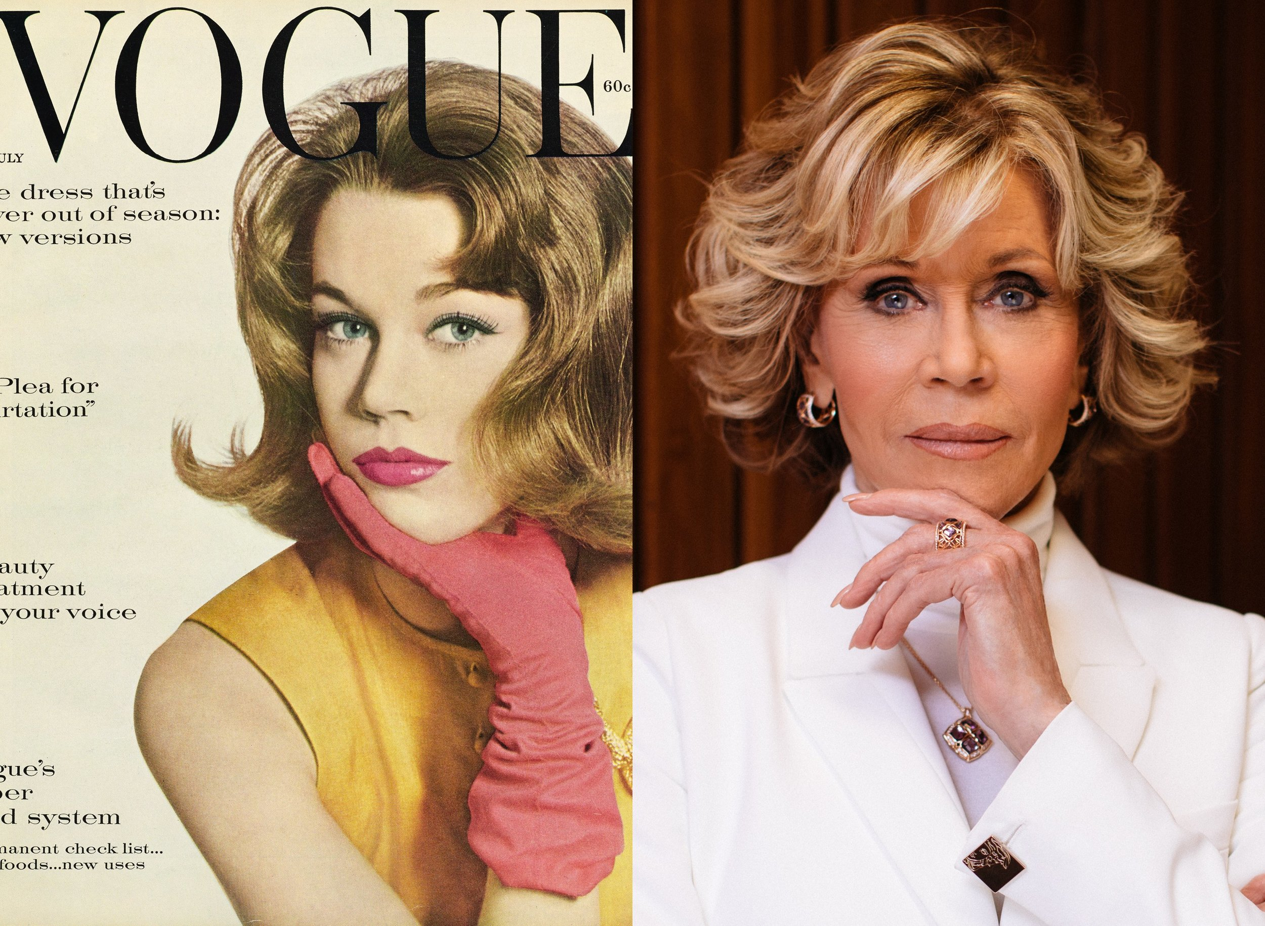 Left: Jane Fonda photographed by Irving Penn,  Vogue , July 1959; Left: Fonda in 2018, photo credit Getty Images.  via Vogue US