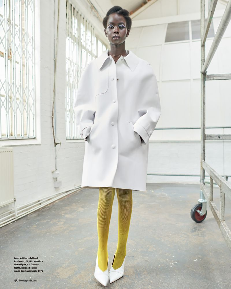 Louis Vuitton polyblend Patch coat, £2,270. Jonathan Aston tights, £5, from UK Tights. Malone Souliers nappa Constance heels, £475 | Image: Mariano Vivanco
