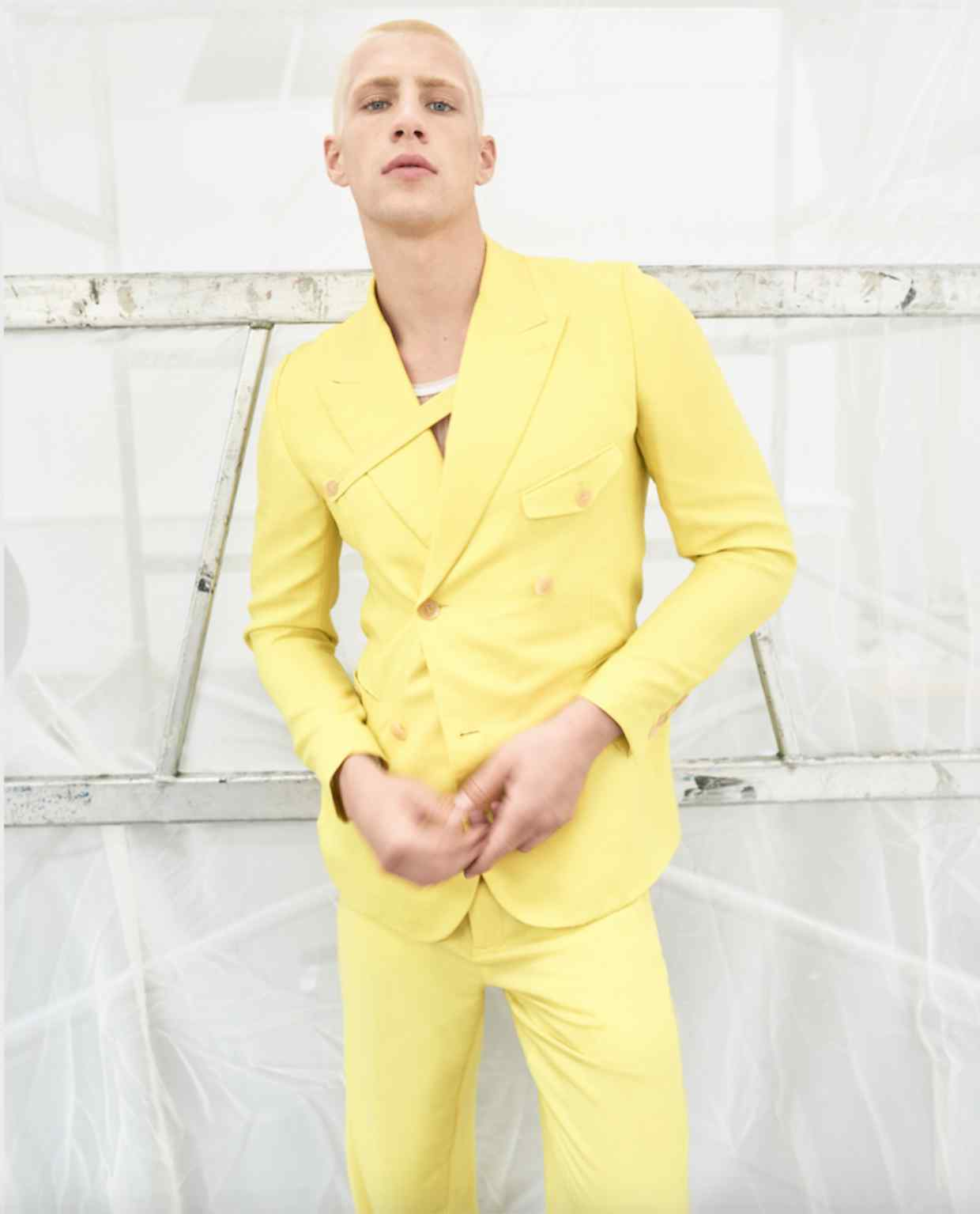 Dior cashmere twill jacket, £3,400, matching trousers, £1,700, and technical jersey vest, £730 | Image: Mariano Vivanco