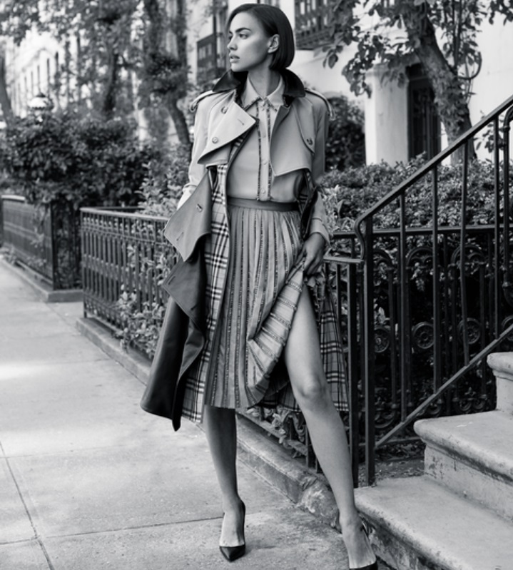 Irina Shayk in Burberry jacket, blouse and skirt. Image by Zoey Grossman.