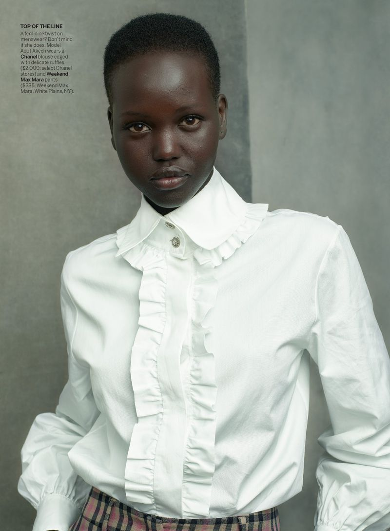 Adut Akech by Annie Leibovitz in 'Check Please' for Vogue US August 2019
