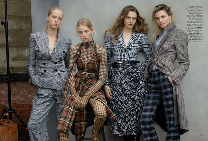 Abby Champion, Andreja Pejic, Ariel Nicholson, and Rebecca Leigh Longendyke by Annie Leibovitz in 'Check Please' for Vogue US August 2019