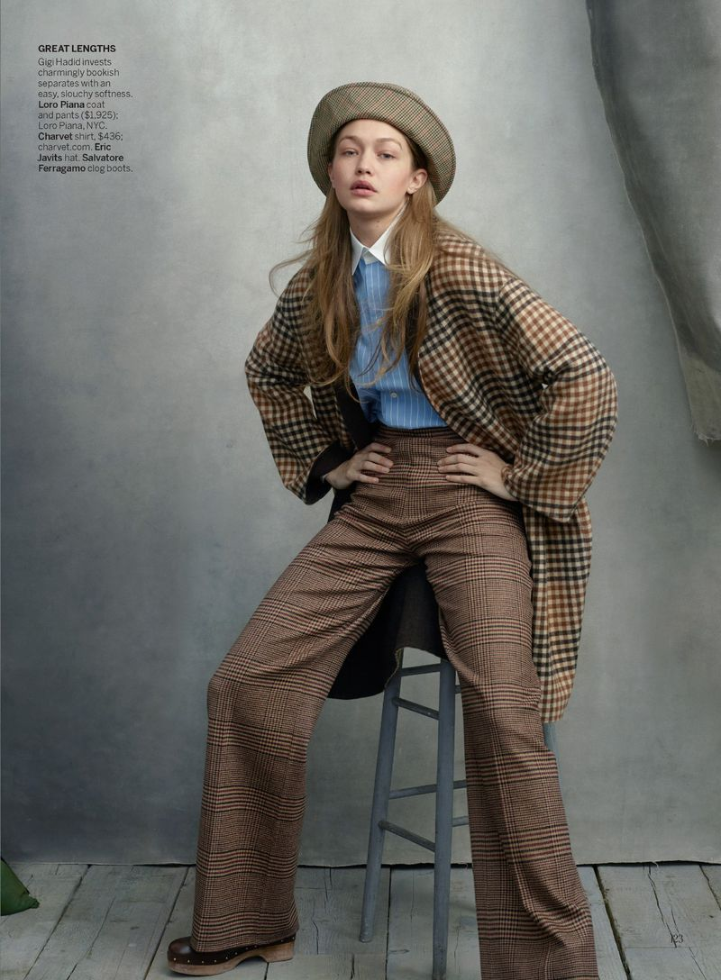 Gigi Hadid by Annie Leibovitz in 'Check Please' for Vogue US August 2019