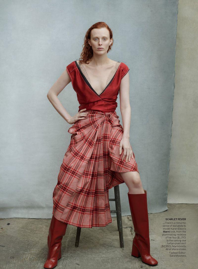 Karen Elson by Annie Leibovitz in 'Check Please' for Vogue US August 2019