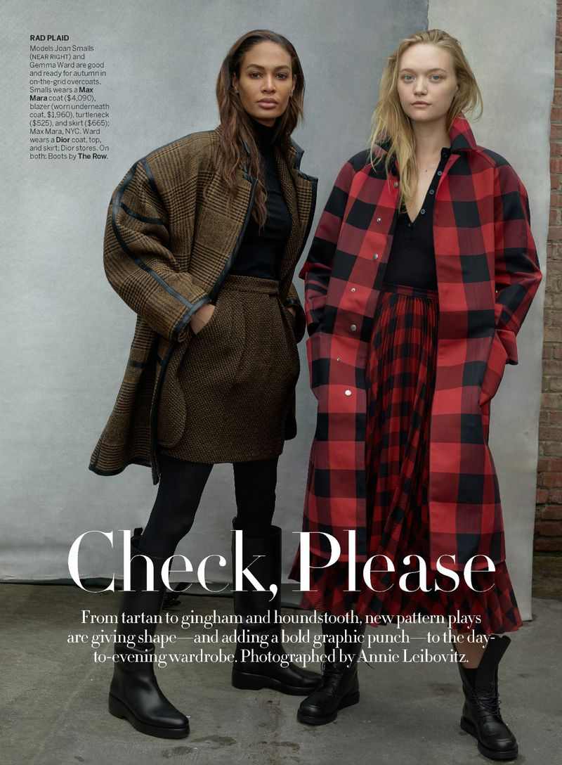 Gemma Ward and Joan Smalls by Annie Leibovitz in 'Check Please' for Vogue US August 2019