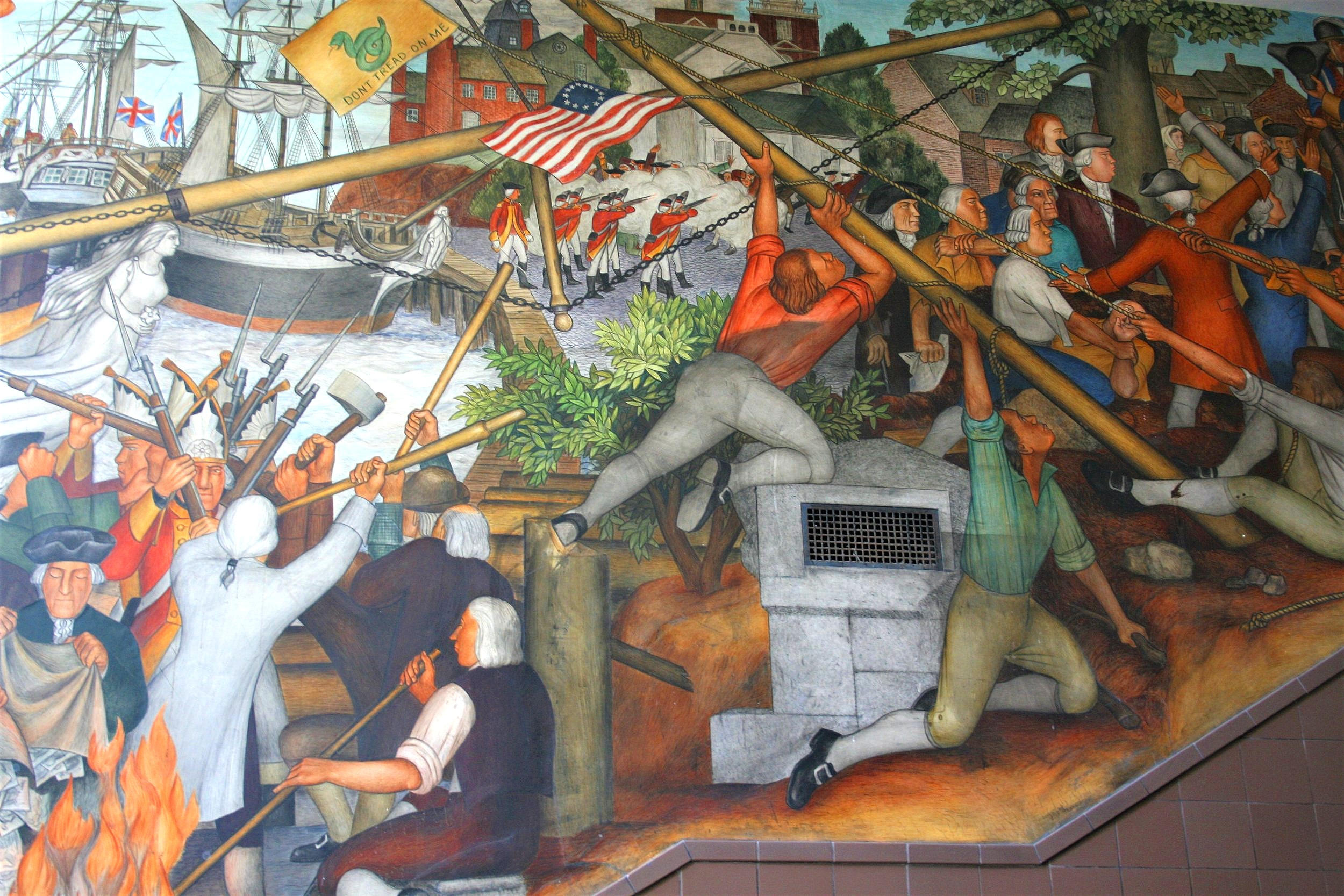 One of 13 panels in Victor Arnautoff's 'The Life of Washington' murals scheduled for destruction by the San Francisco Board of Education. Some students and their parents say the images are upsetting to young people who can't escape their past.