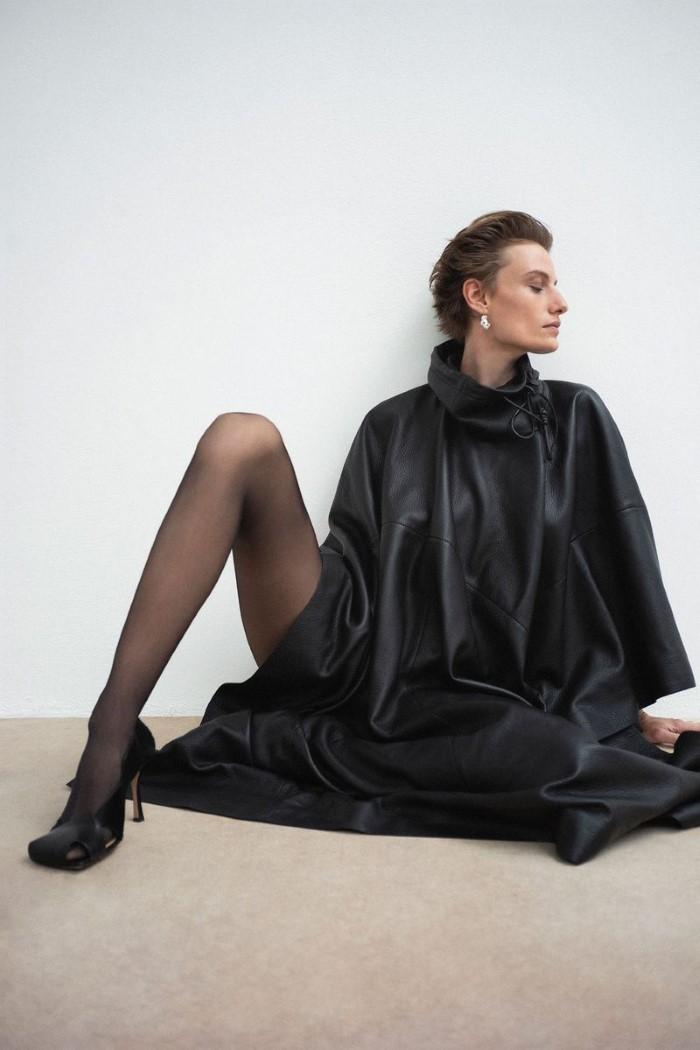 Salvatore Ferragamo cape,  price upon request,    ferragamo.com  , Bottega Veneta shoes,  $1,100,    bottegaveneta.com   .   Veronika Kunz  by  Bibi Cornejo Borthwick