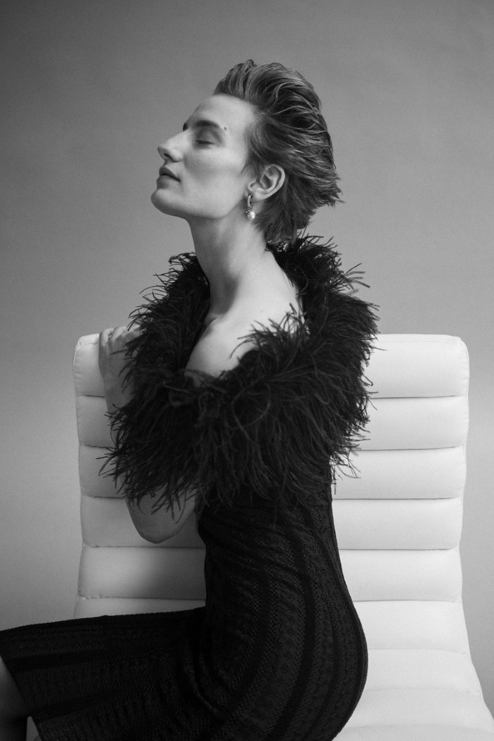 Ralph Lauren dress,  $3,890,    ralphlauren.com  , Dior earrings,  price upon request.   Veronika Kunz  by  Bibi Cornejo Borthwick