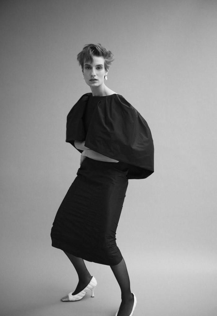 Givenchy dress,  $4,595, Givenchy, 747 Madison Avenue, New York , Bottega Veneta shoes,  $1,100,    bottegaveneta.com  , Alice Waese earrings, price upon request,       alicewaese.com   .   Veronika Kunz  by  Bibi Cornejo Borthwick