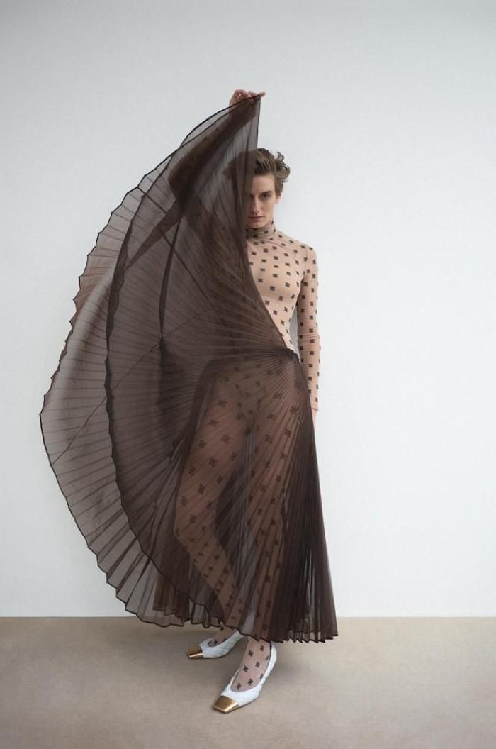Fendi bodysuit,  $770 , skirt,  $1,980 , and tights,  $140,    fendi.com  , Bottega Veneta shoes,  $1,100,    bottegaveneta.com  ..  Veronika Kunz  by  Bibi Cornejo Borthwick