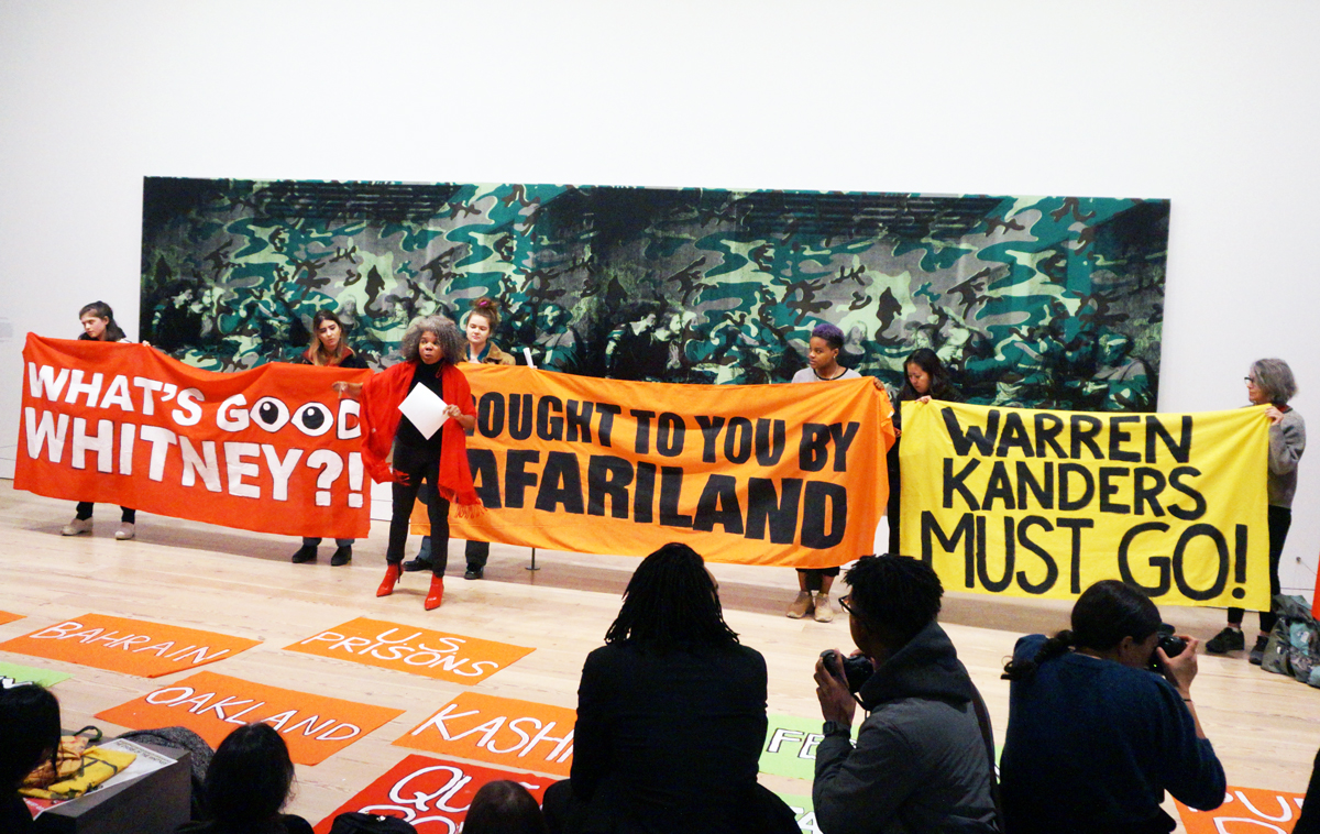 Image of Whitney protests  via ARTNews.