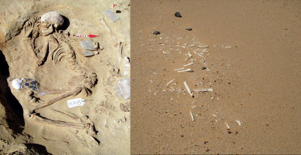 Well preserved vs. wind‐eroded remains at Gebel Ramlah. Author provided.