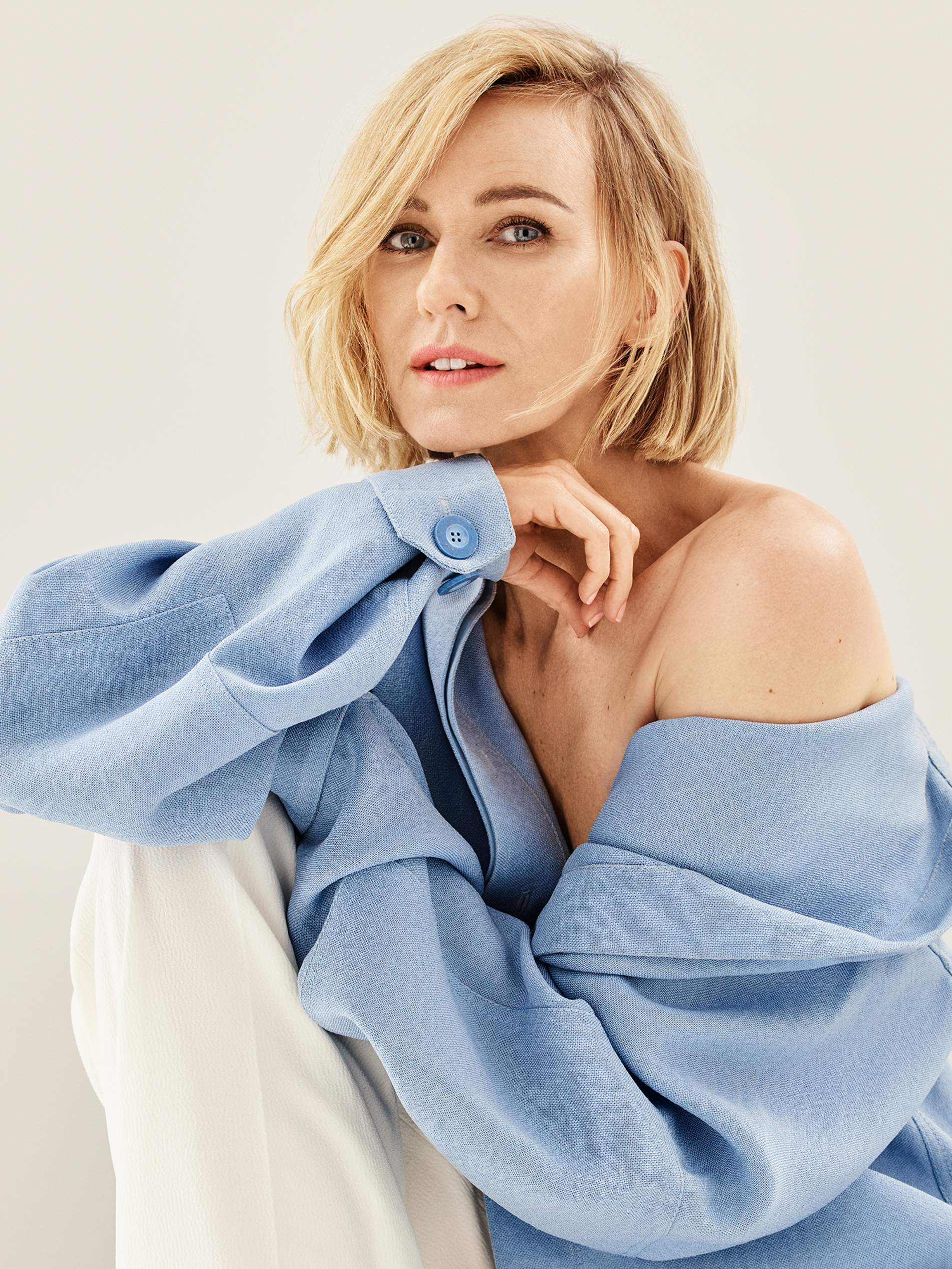 Shirt Jacquemus; pants Proenza Schouler. Naomi Watts by Jason Kibler for Porter Edit Aug. 2, 2019