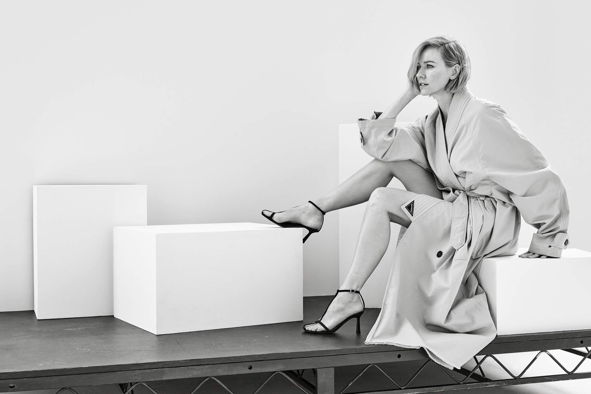 Coat Balenciaga; sandals Neous. Naomi Watts by Jason Kibler for Porter Edit Aug. 2, 2019