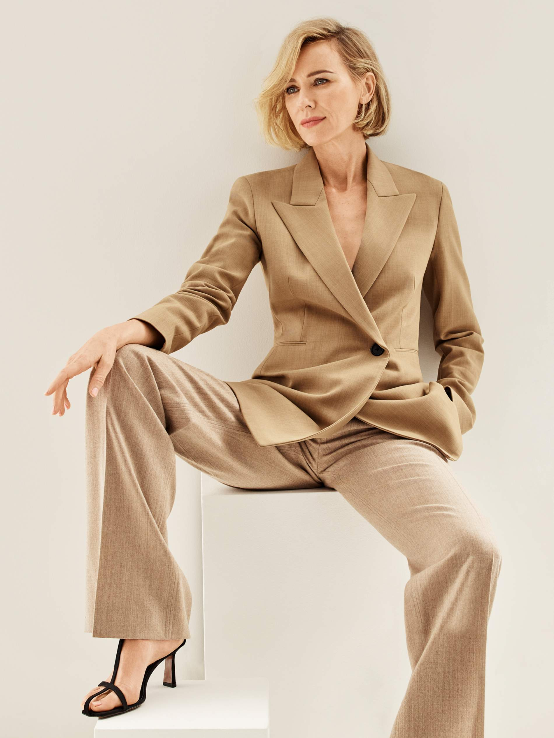 Blazer The Row; pants Chloé; sandals Neous. Naomi Watts by Jason Kibler for Porter Edit Aug. 2, 2019