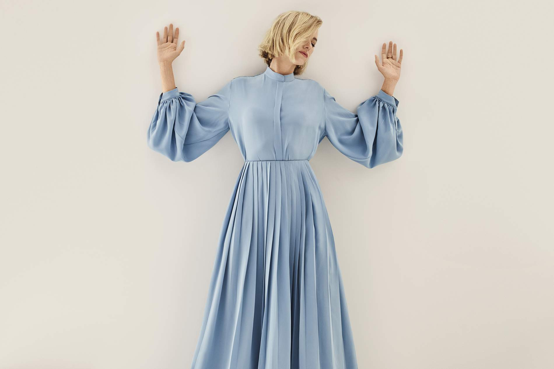 Blouse and skirt The Row; earrings Balenciaga; ring Tohum.. Naomi Watts by Jason Kibler for Porter Edit Aug. 2, 2019