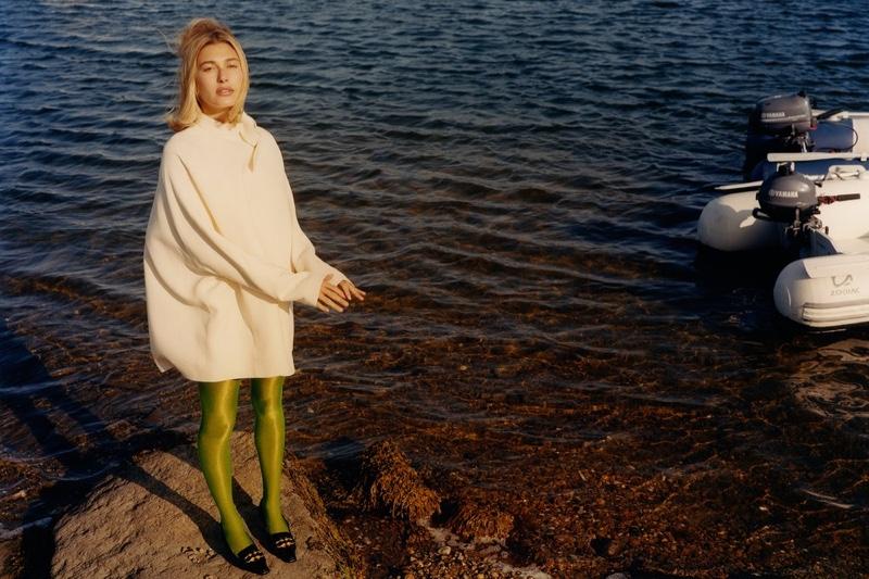 Valentino dress; Music Legs tights; Bottega Veneta shoes.Hailey Bieber by Colin Dodgson for W Magazine.