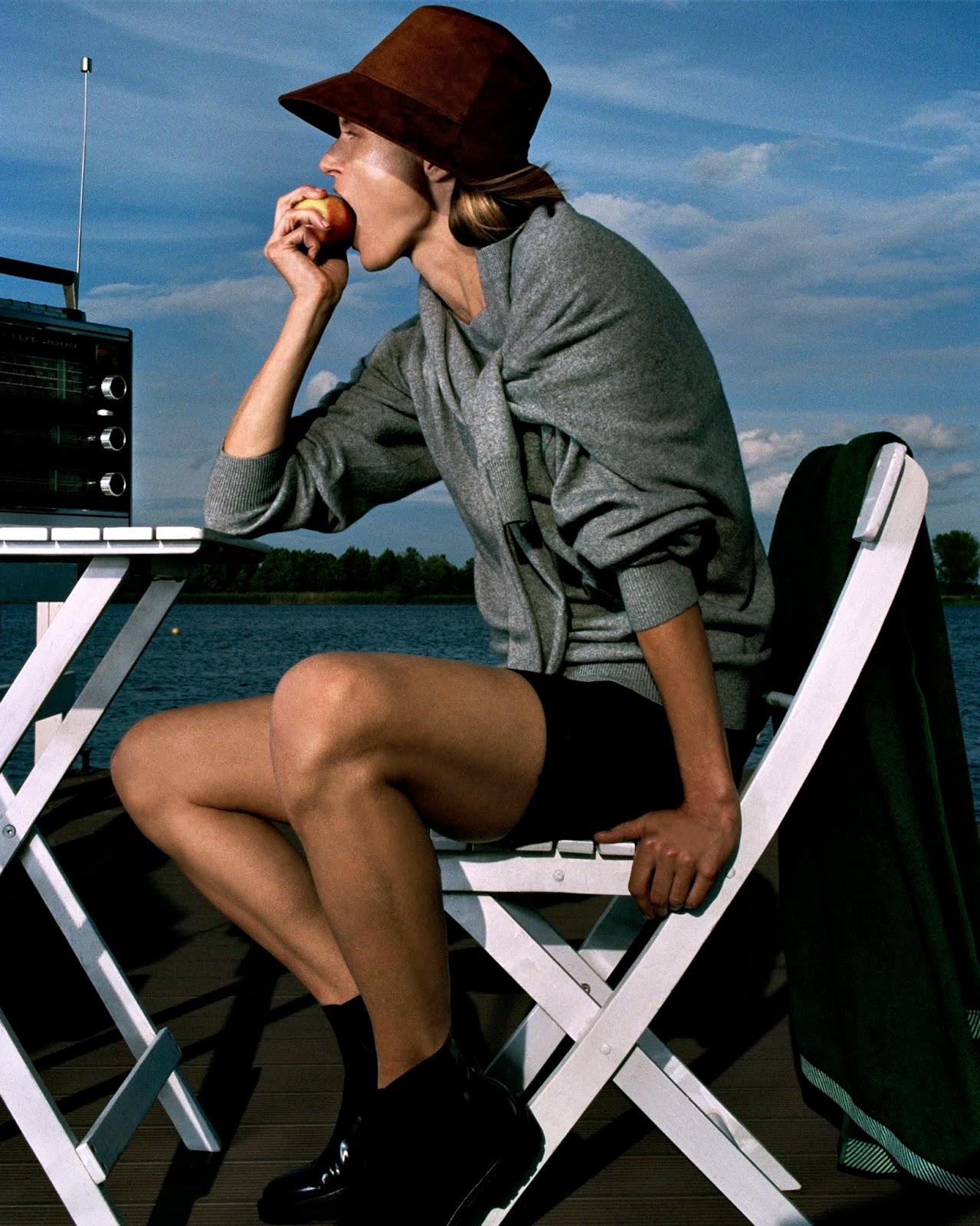 Sweater Alexander Wang; shorts Nagnata; boots Prada; hat Albus Lumen. Malgosia Bela by Hugo Comte.