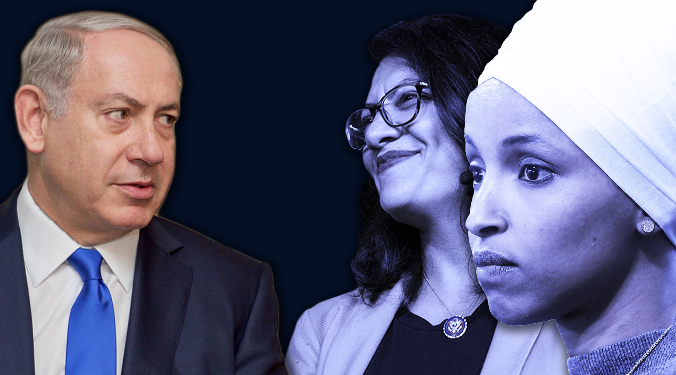 "Israeli Prime Minister Benjamin Netanyahu, left, said Reps. Rashida Tlaib, center, and Ilhan Omar, right, provided an itinerary that ""revealed that they planned a visit whose sole objective is to strengthen the boycott against us and deny Israel's legitimacy.""  (Laura E. Adkins for JTA/Getty Images)"